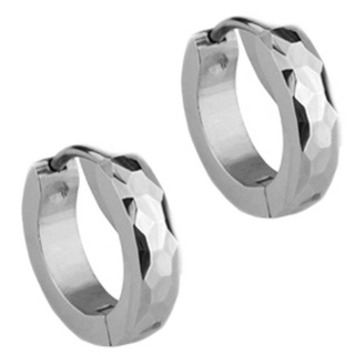 Slim Steel Facet Huggie Earrings